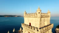 Belem Tower at morning Lisbon aerial view video