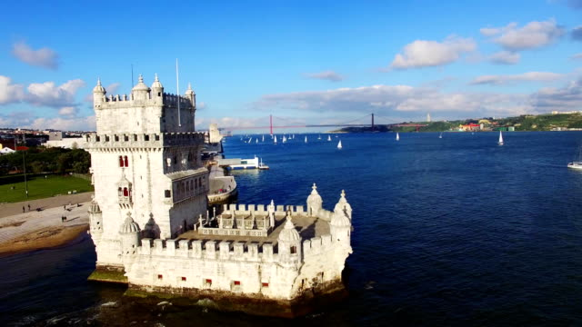 Belem Tower Lisbon aerial video