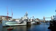 HMS Belfast and Tower Bridge. video