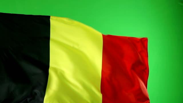 Belgian Belgium Flag on green screen, Super Slow Motion video