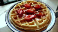 Belgian Waffle With Strawberries Maple Syrup video