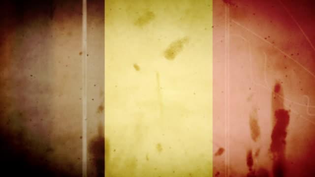 Belgium Flag - Grungy Retro Old Film Loop with Audio video