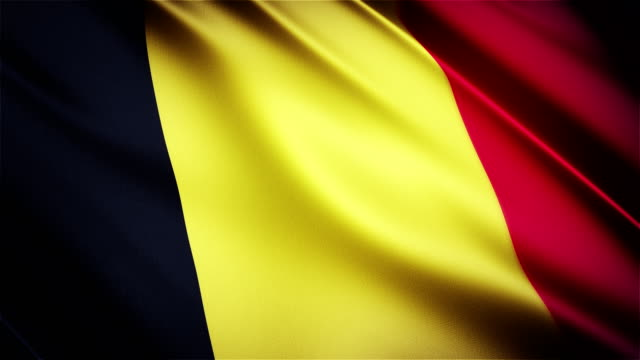 Belgium realistic national flag seamless looped waving animation video