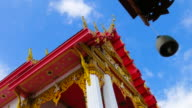 Bell against Wind with Thai Style Temple Background video