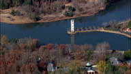 bell tower on swan lake - Aerial View - South Carolina,  Greenville County,  United States video