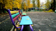 Bench in The Park in Autumn video