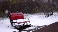 Bench in the park, snow falling video