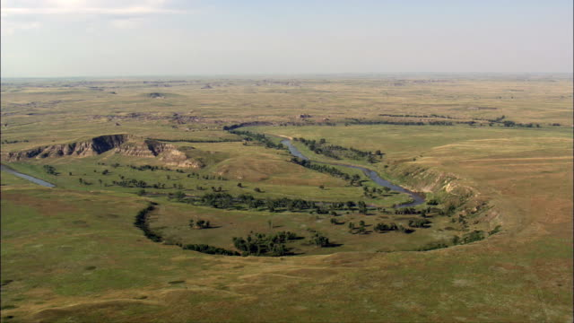 Bends In the Grand River  - Aerial View - South Dakota, Corson County, United States video