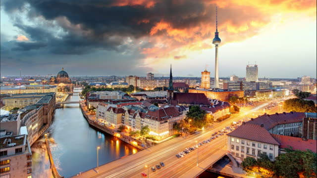 Berlin panorama - Time lapse at sunset, Germany video
