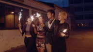 Best friends celebrating new years eve with sparklers video