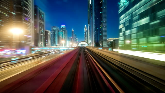 Best timelapse from windshield window of the first wagon of Dubai metro, United Arab Emirates video