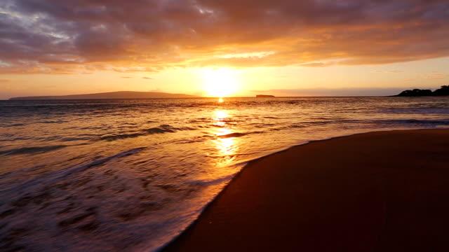 Beutiful Sandy Beach Sunset video