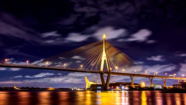 Bhumibol Bridge at night video