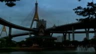 Bhumibol Bridge Thailand Timelapse Day to Night video