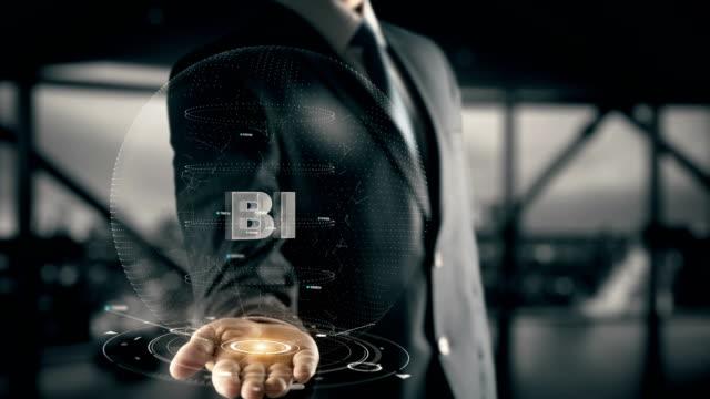 Bi with hologram businessman concept video