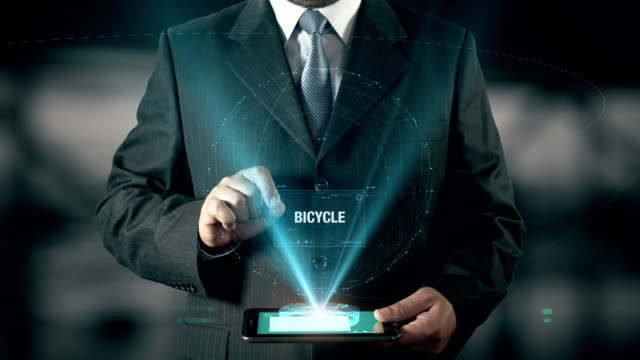 Bicycle Healthy Life Success Concept Businessman using digital tablet technology futuristic background video