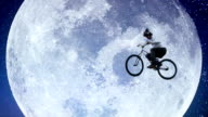 Bicycle moon flyer, male bike across night sky slow motion video