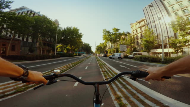 POV bicycle on bicycle lane of Barcelona video