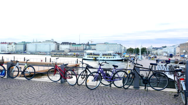 Bicycle parking against ferry pier in Helsinki South Harbor video