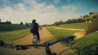 POV bicycle ride in the Circus Maximus of Rome video