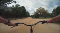 POV bicycle riding in Barcelona, Spain video