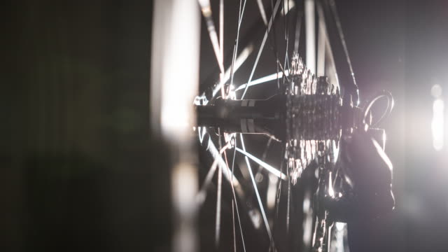 Bicycle wheel spoke and chain details in the dark video