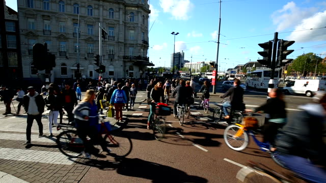 Bicycles in Amsterdam City, Time Lapse video