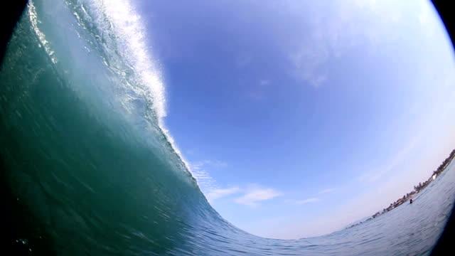 Big 20 foot wave breaks over camera video