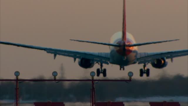 Big aircraft landing Close-Up video