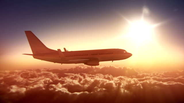 Big airliner above the clouds video