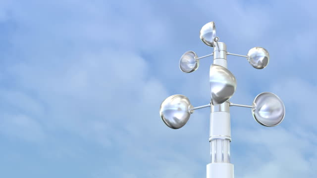 Big and small shiny anemometers rotate. video
