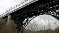 Big arched bridge with subway train. video