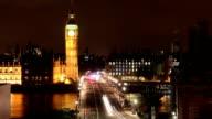 big ben across westminster bridge at night video