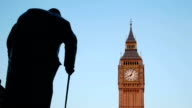 Big Ben and Churchill statue sunset time lapse video