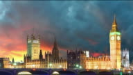 Big Ben and Houses of Parliament at evening, London, UK video