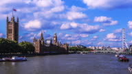 Big Ben and Houses of Parliament with Londoneye in London's city of Westminster video