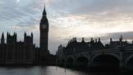 Big Ben and Palace of Westminster at dusk in London, natural light and colors video
