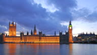 Big Ben and Parliament time-lapse. London sunset video