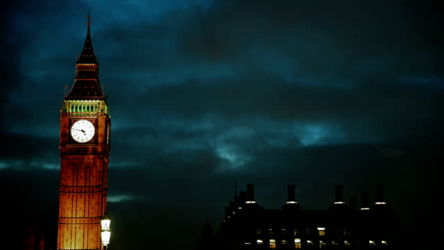 Big Ben at night. Time lapse video