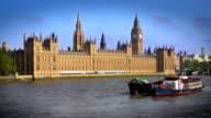 Big Ben Houses of Parliament River Thames. HD, NTSC, PAL video
