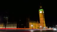 Big Ben London night time lapse video