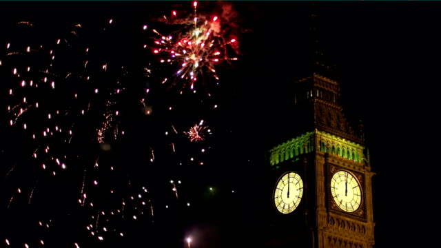 Big Ben with Fireworks behind - London video