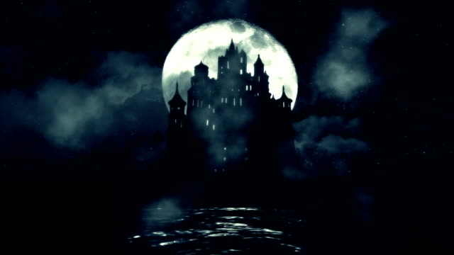 A Big Black Castle in The Middle of the Sea with a Rising Full Moon Night video