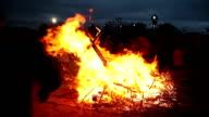 Big bonfire on Shrove Tuesday video