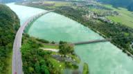 Big bridge of motorway road on the lake video