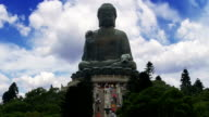 Big Buddha in Hong Kong and Tourists. Time Lapse video