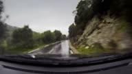 Big car on a wet road onboard camera video