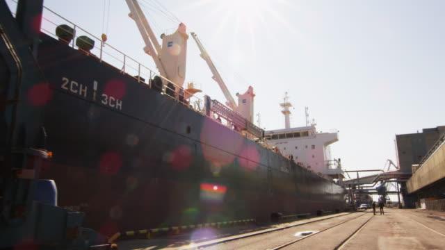 Big Cargo Ship in Harbor. video