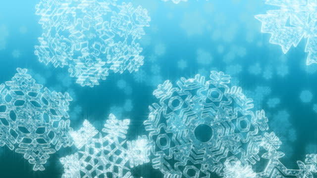 Big Christmas snowflakes falling against light blue background. Loopable. video