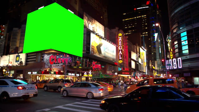 Big Chroma Key Green screen NYC Busy Intersection video